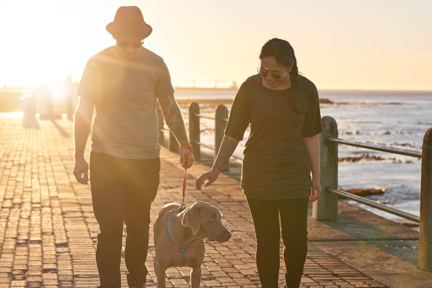 man and woman couple walking dog on boardwalk at sunset